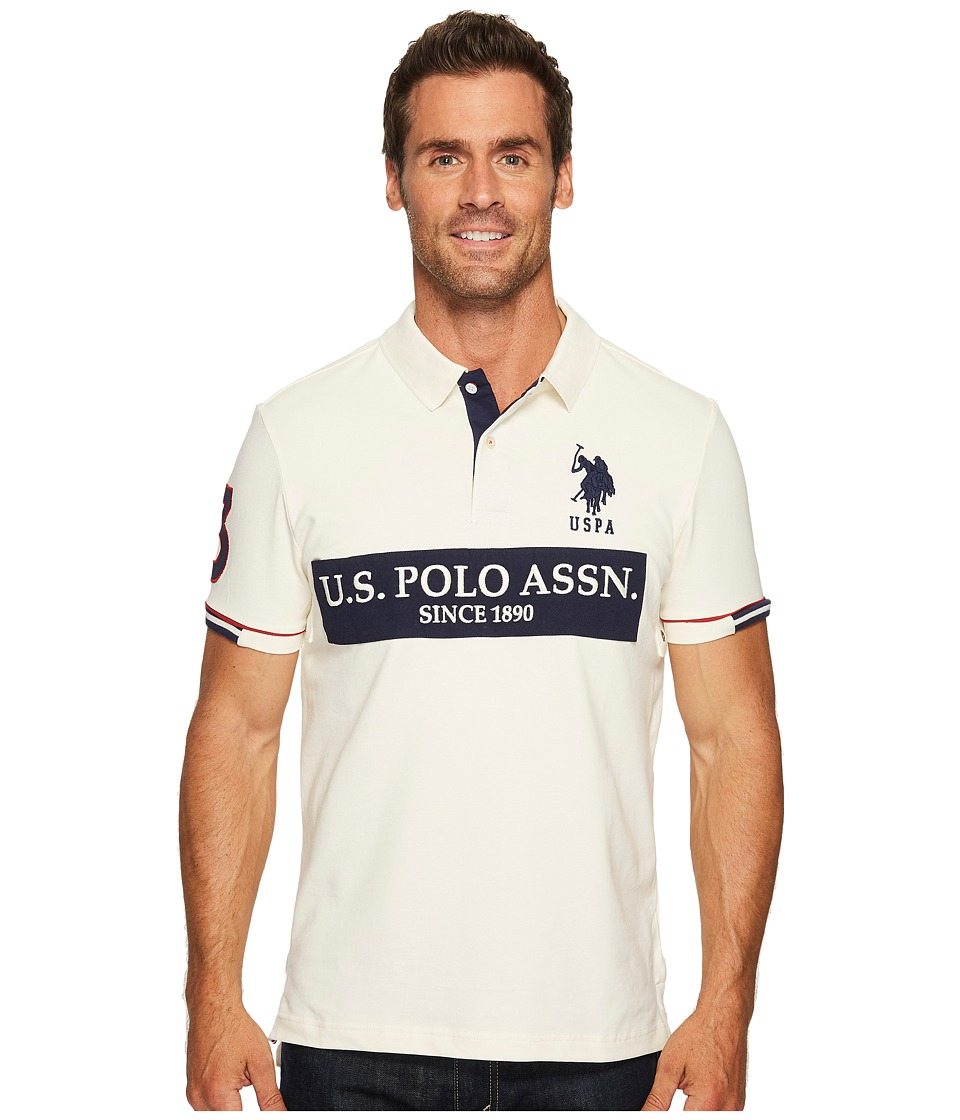 U.S. POLO ASSN. - Slim Fit Color Block Short Sleeve Stretch Pique Polo Shirt (Vanilla Prep) Men's Short Sleeve Pullover