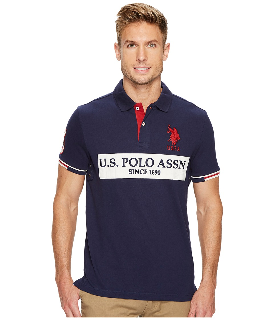 U.S. POLO ASSN. - Slim Fit Color Block Short Sleeve Stretch Pique Polo Shirt (Classic Navy) Men's Short Sleeve Pullover