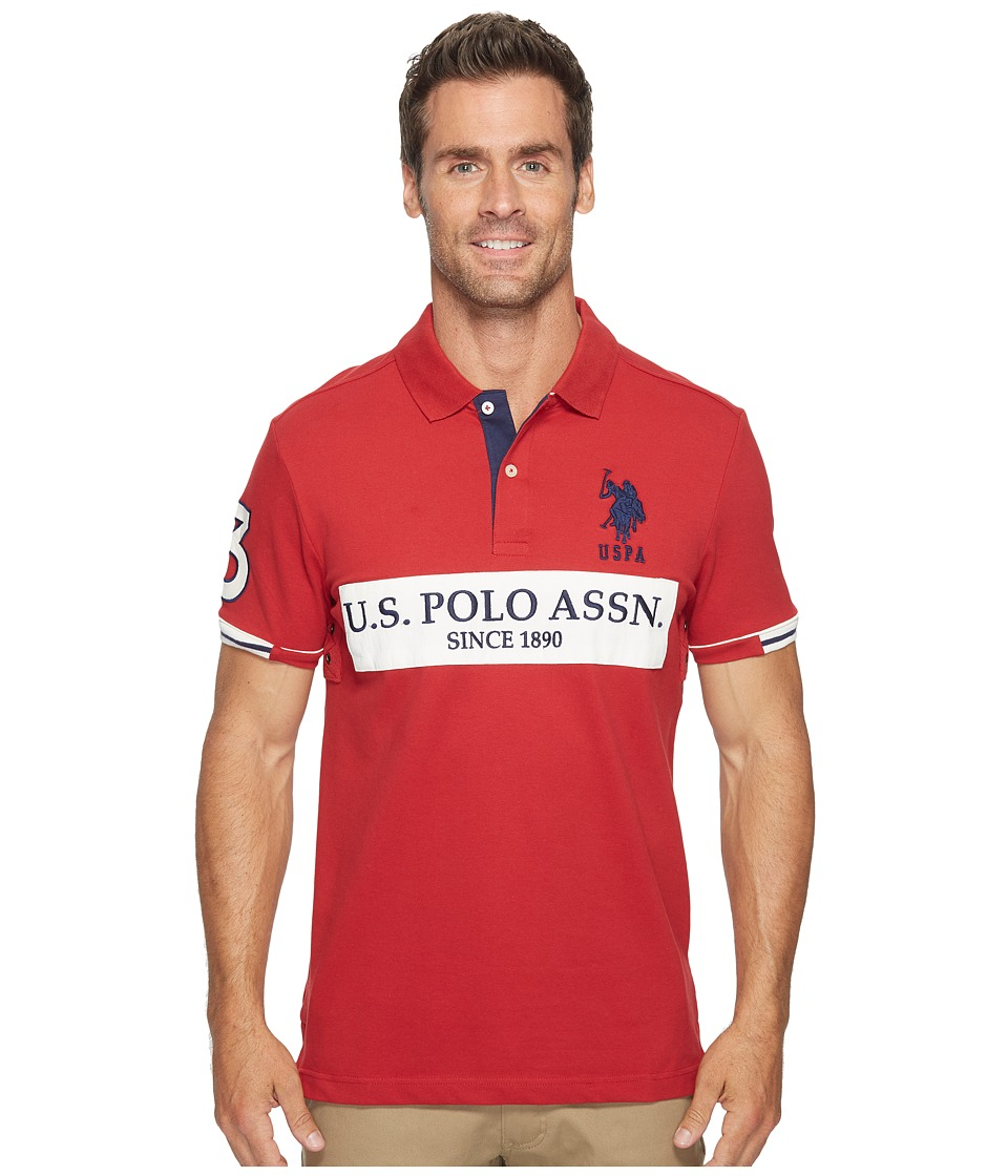 U.S. POLO ASSN. - Slim Fit Color Block Short Sleeve Stretch Pique Polo Shirt (Apple Cinnamon) Men's Short Sleeve Pullover