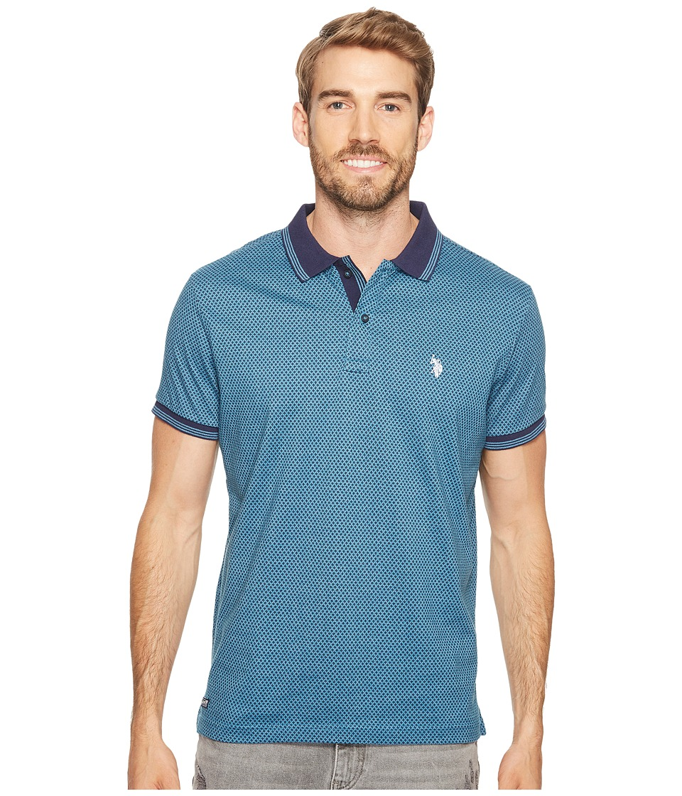 U.S. POLO ASSN. - Slim Fit Printed Short Sleeve Jersey Polo Shirt (Medium Blue Heather) Men's Short Sleeve Pullover