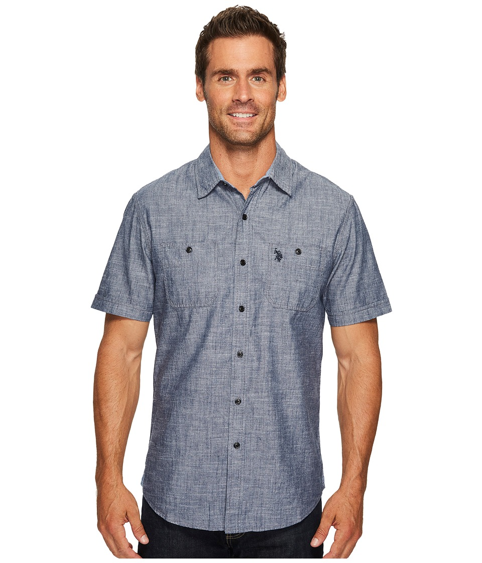 U.S. POLO ASSN. - Slim Fit Short Sleeve Sport Shirt (Infinity Blue) Men's Clothing