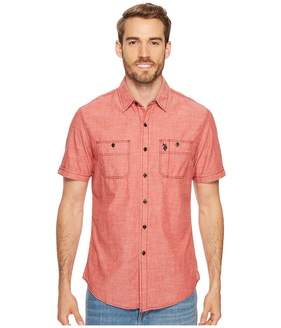 U.S. POLO ASSN. - Slim Fit Short Sleeve Sport Shirt (Red Canvas) Men's Clothing