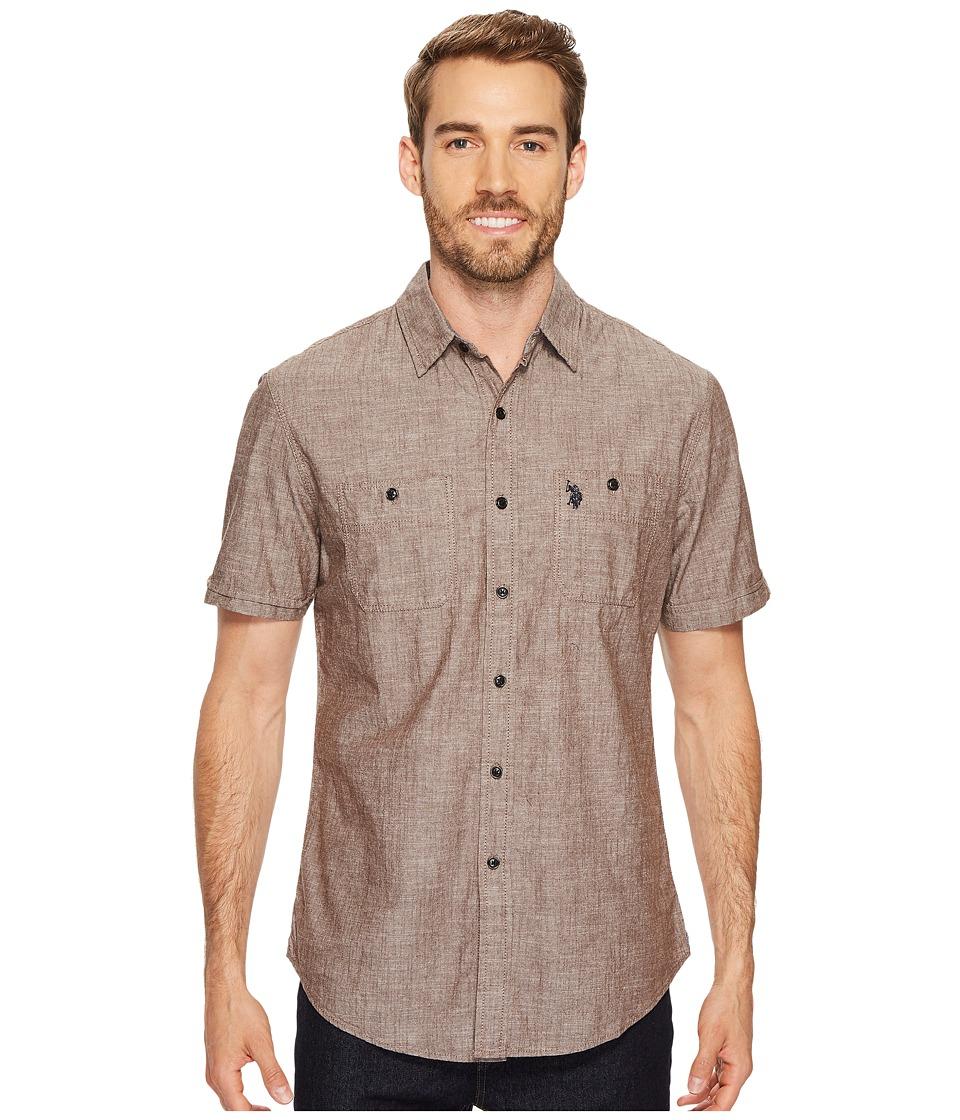 U.S. POLO ASSN. Slim Fit Short Sleeve Sport Shirt (Dark Stallion) Men