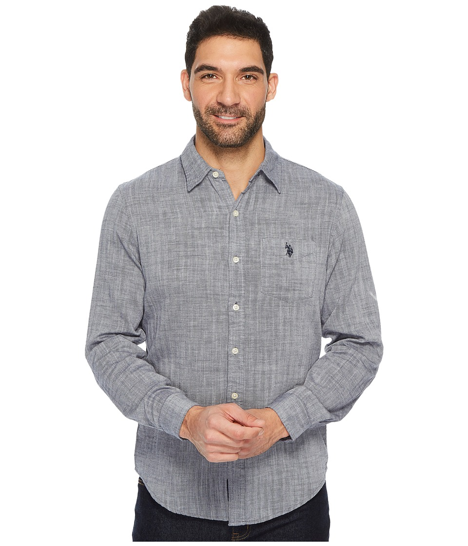 U.S. POLO ASSN. - Slim Fit Solid Long Sleeve Sport Shirt (Classic Navy) Men's Clothing