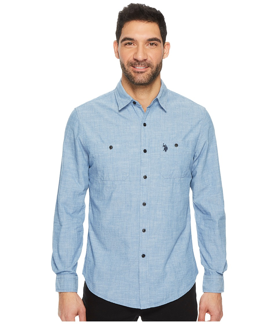 U.S. POLO ASSN. - Slim Fit Solid Long Sleeve Sport Shirt (Pale Blue) Men's Clothing