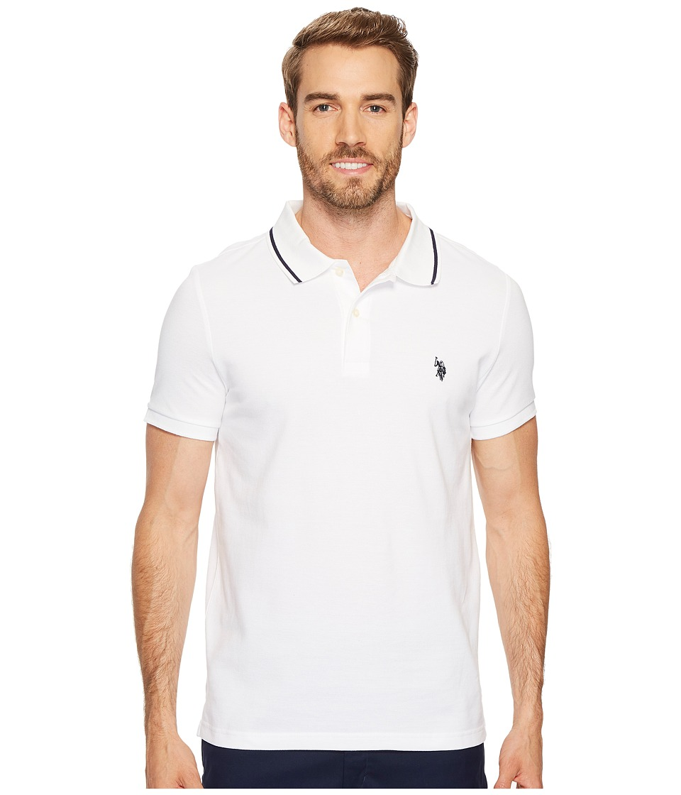 U.S. POLO ASSN. - Slim Fit Solid Short Sleeve Pique Polo Shirt (White) Men's Short Sleeve Pullover
