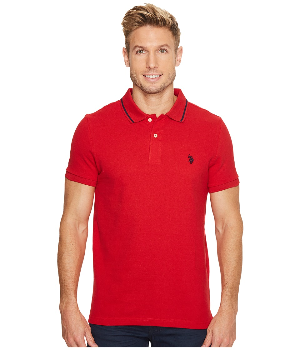 U.S. POLO ASSN. - Slim Fit Solid Short Sleeve Pique Polo Shirt (Engine Red) Men's Short Sleeve Pullover