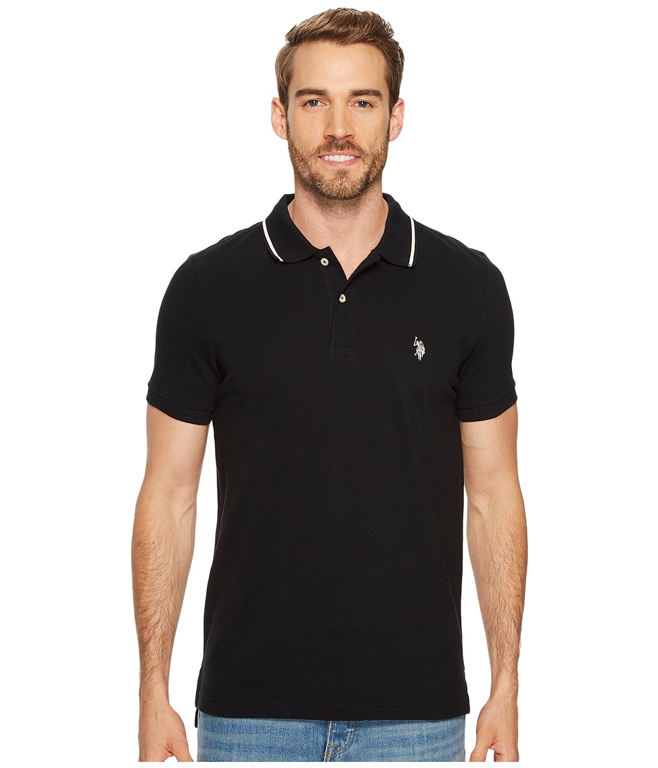 U.S. POLO ASSN. - Slim Fit Solid Short Sleeve Pique Polo Shirt (Black) Men's Short Sleeve Pullover