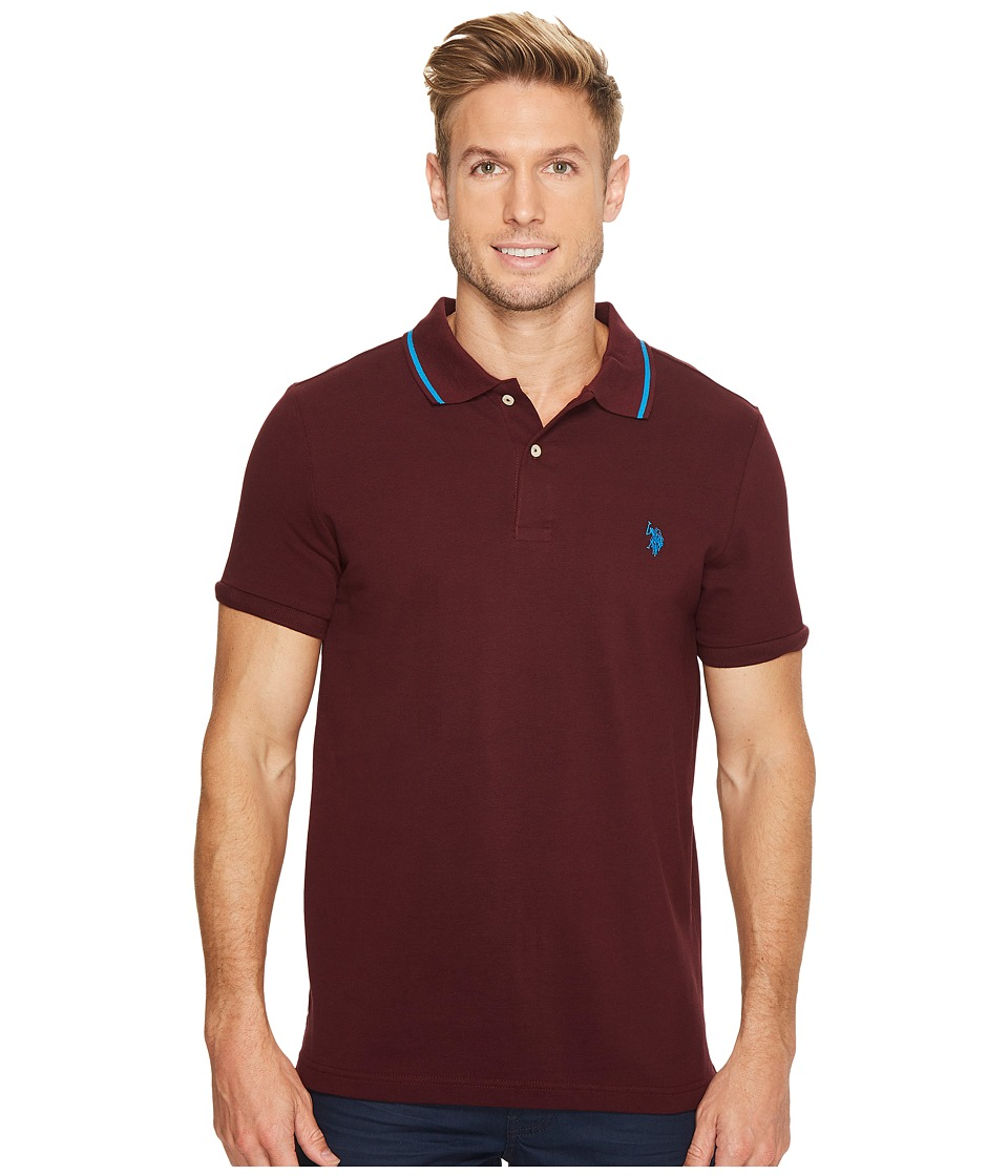 U.S. POLO ASSN. - Slim Fit Solid Short Sleeve Pique Polo Shirt (Autumn Wine) Men's Short Sleeve Pullover