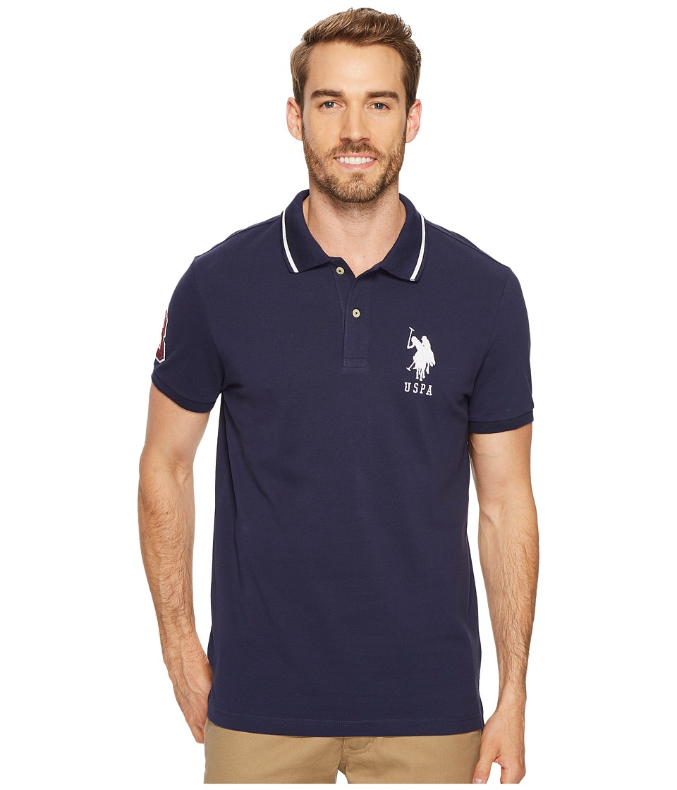 U.S. POLO ASSN. - Slim Fit Short Sleeve Pique Polo Shirt (Classic Navy) Men's T Shirt