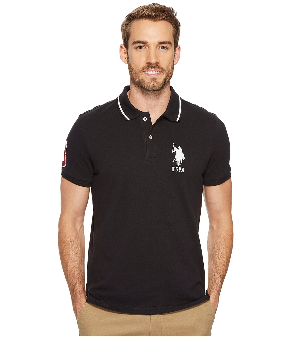 U.S. POLO ASSN. - Slim Fit Short Sleeve Pique Polo Shirt (Black) Men's T Shirt