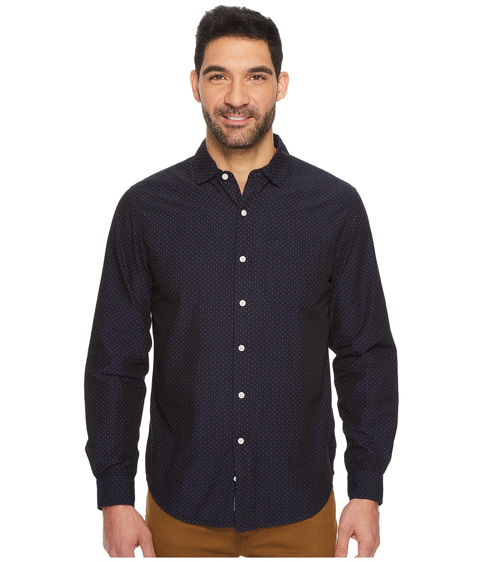 U.S. POLO ASSN. - Slim Fit Stripe, Plaid or Print Long Sleeve Sport Shirt (Classic Navy) Men's Clothing
