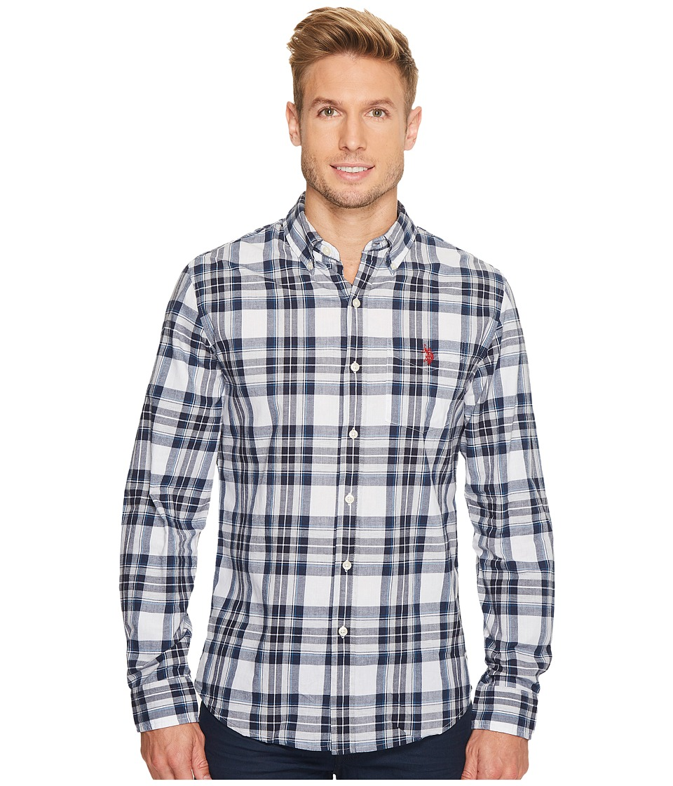 U.S. POLO ASSN. - Slim Fit Stripe, Plaid or Print Long Sleeve Sport Shirt (White) Men's Clothing
