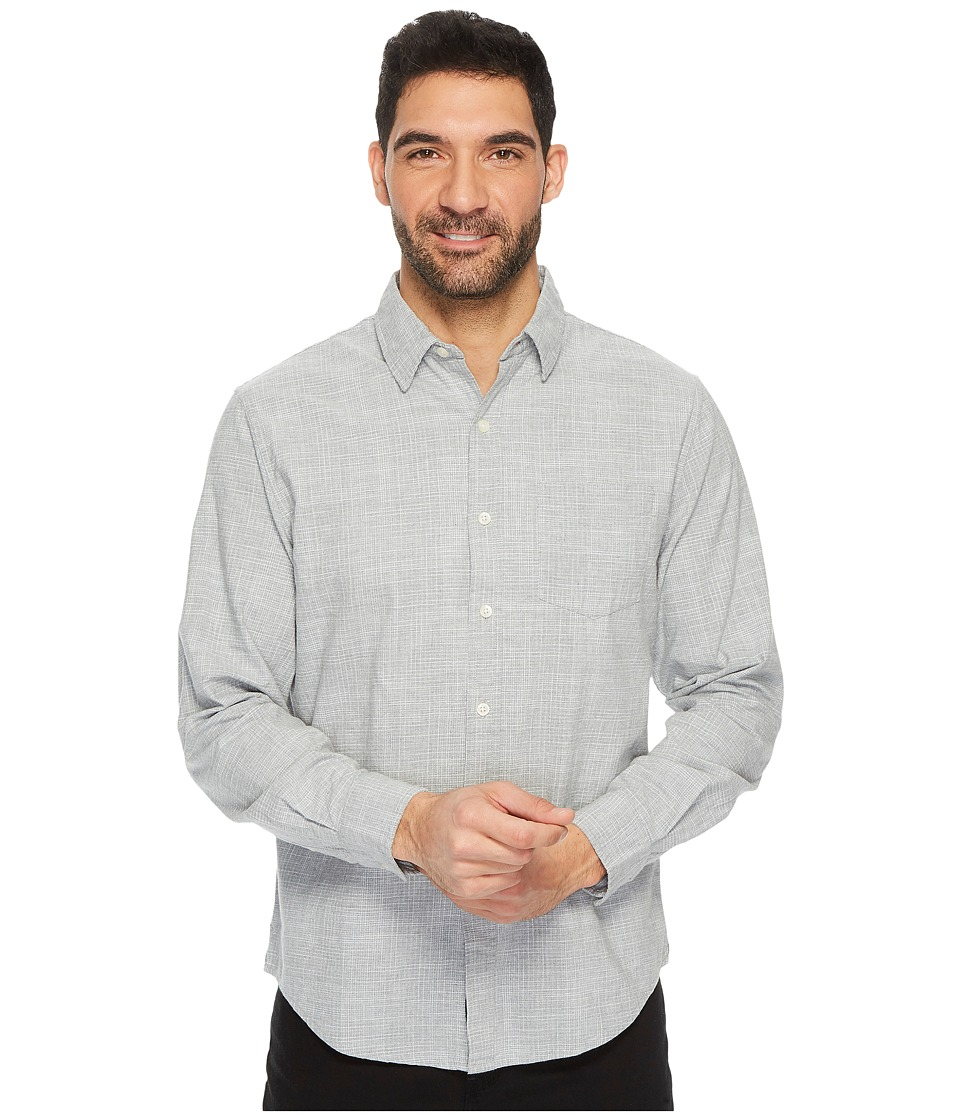 U.S. POLO ASSN. - Slim Fit Stripe, Plaid or Print Long Sleeve Sport Shirt (Heather Grey) Men's Clothing