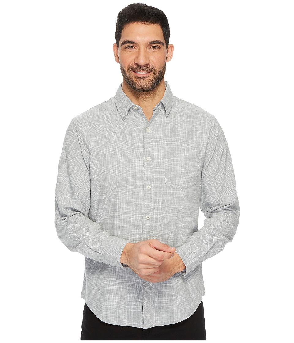U.S. POLO ASSN. Slim Fit Stripe, Plaid or Print Long Sleeve Sport Shirt (Heather Grey) Men