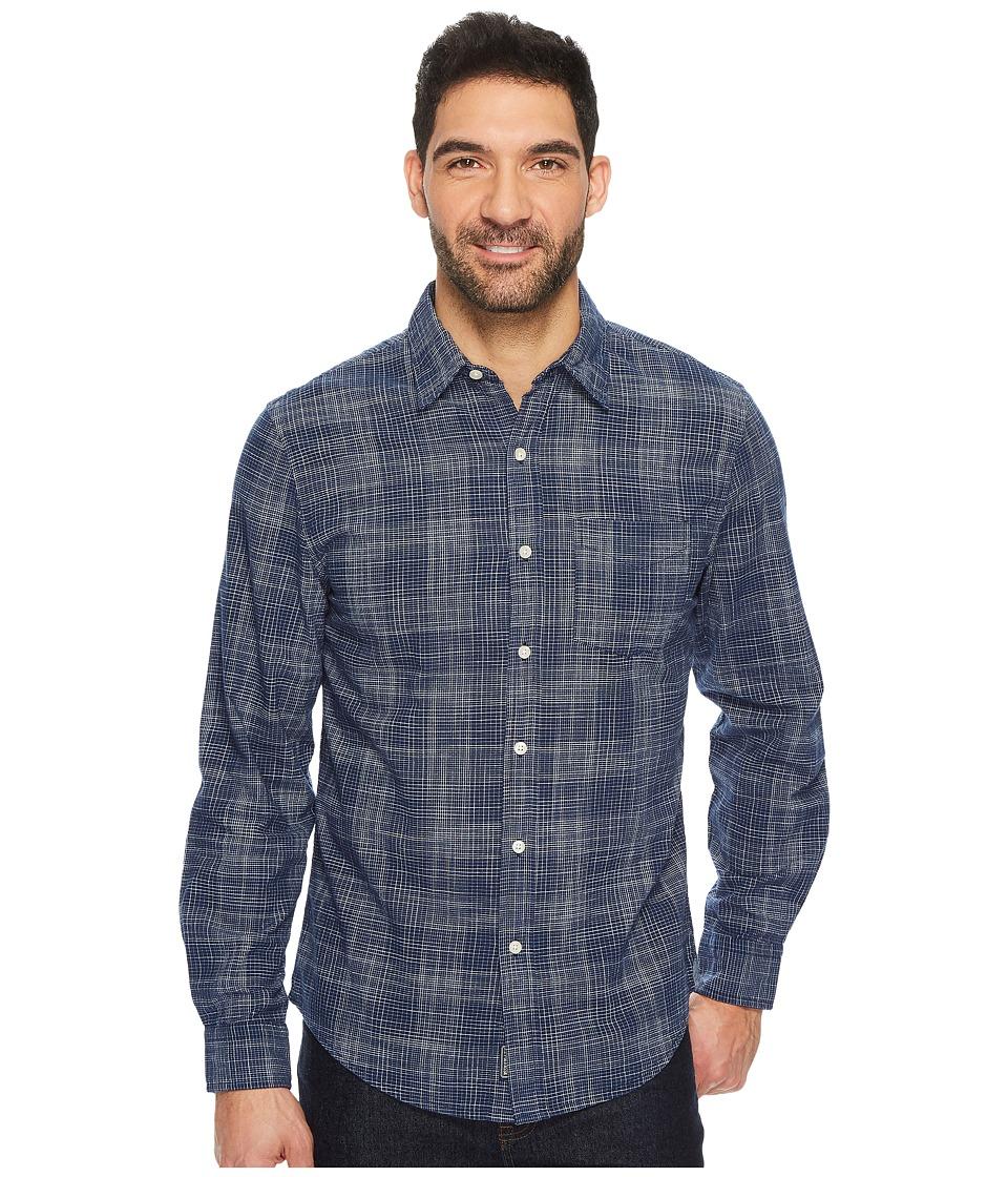 U.S. POLO ASSN. - Slim Fit Stripe, Plaid or Print Long Sleeve Sport Shirt (Classic Navy) Men's Clothing