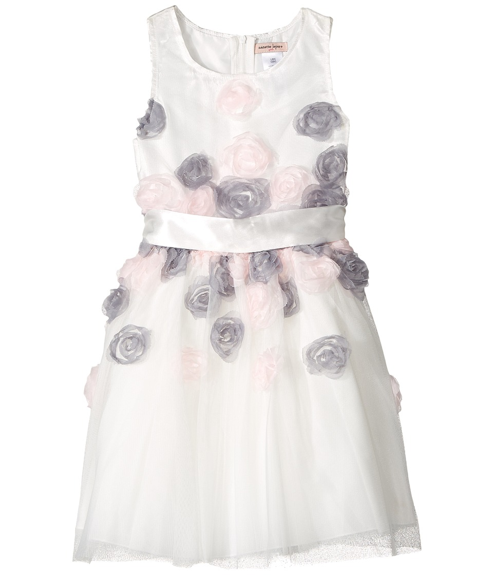Nanette Lepore Kids - Mesh Dress with 3-D Roses (Toddler/Little Kids) (White) Girl's Dress