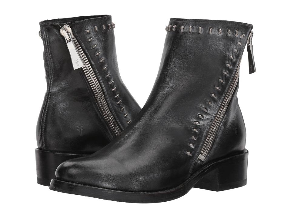 Frye Demi Rebel Zip Bootie (Black Waxed Full Grain) Women