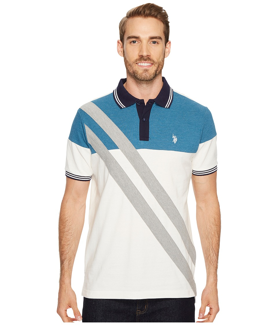 U.S. POLO ASSN. - Slim Fit Striped Short Sleeve Pique Polo Shirt (White Winter) Men's Short Sleeve Pullover