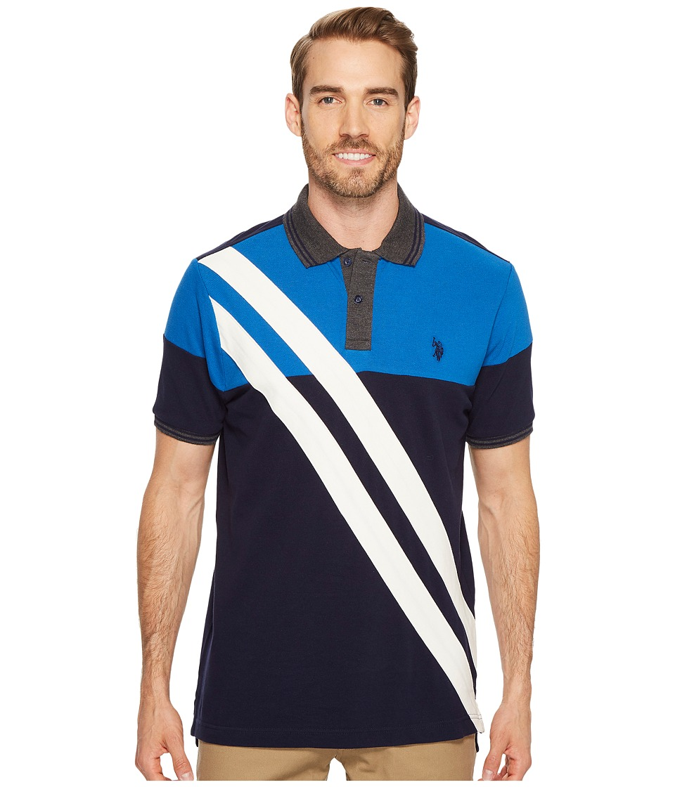 U.S. POLO ASSN. - Slim Fit Striped Short Sleeve Pique Polo Shirt (Classic Navy) Men's Short Sleeve Pullover