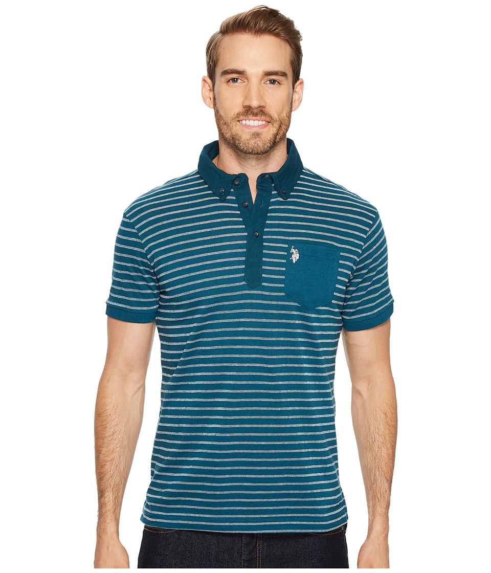 U.S. POLO ASSN. - Slim Fit Striped Short Sleeve Pique Polo Shirt (Seaport Blue) Men's Short Sleeve Pullover
