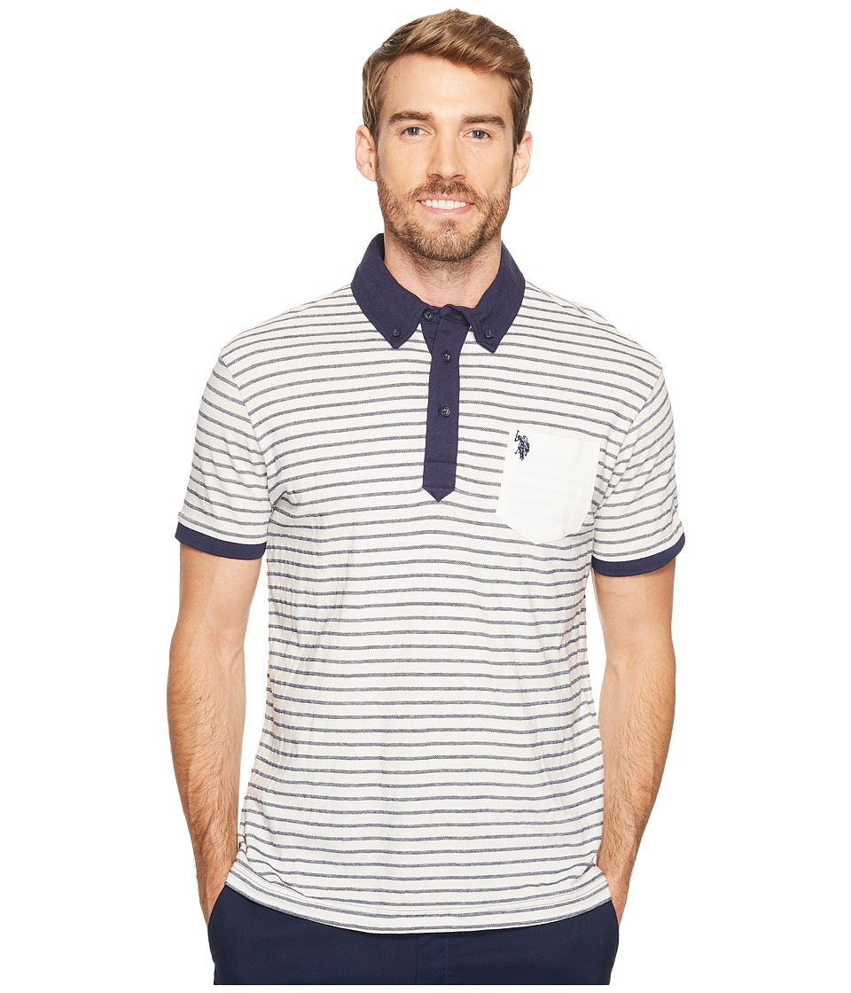 U.S. POLO ASSN. - Slim Fit Striped Short Sleeve Pique Polo Shirt (Vanilla Prep) Men's Short Sleeve Pullover