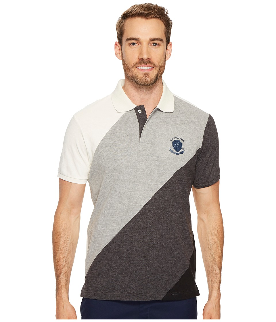 U.S. POLO ASSN. - Slim Fit Striped Short Sleeve Pique Polo Shirt (Dark Heather Grey) Men's Short Sleeve Pullover