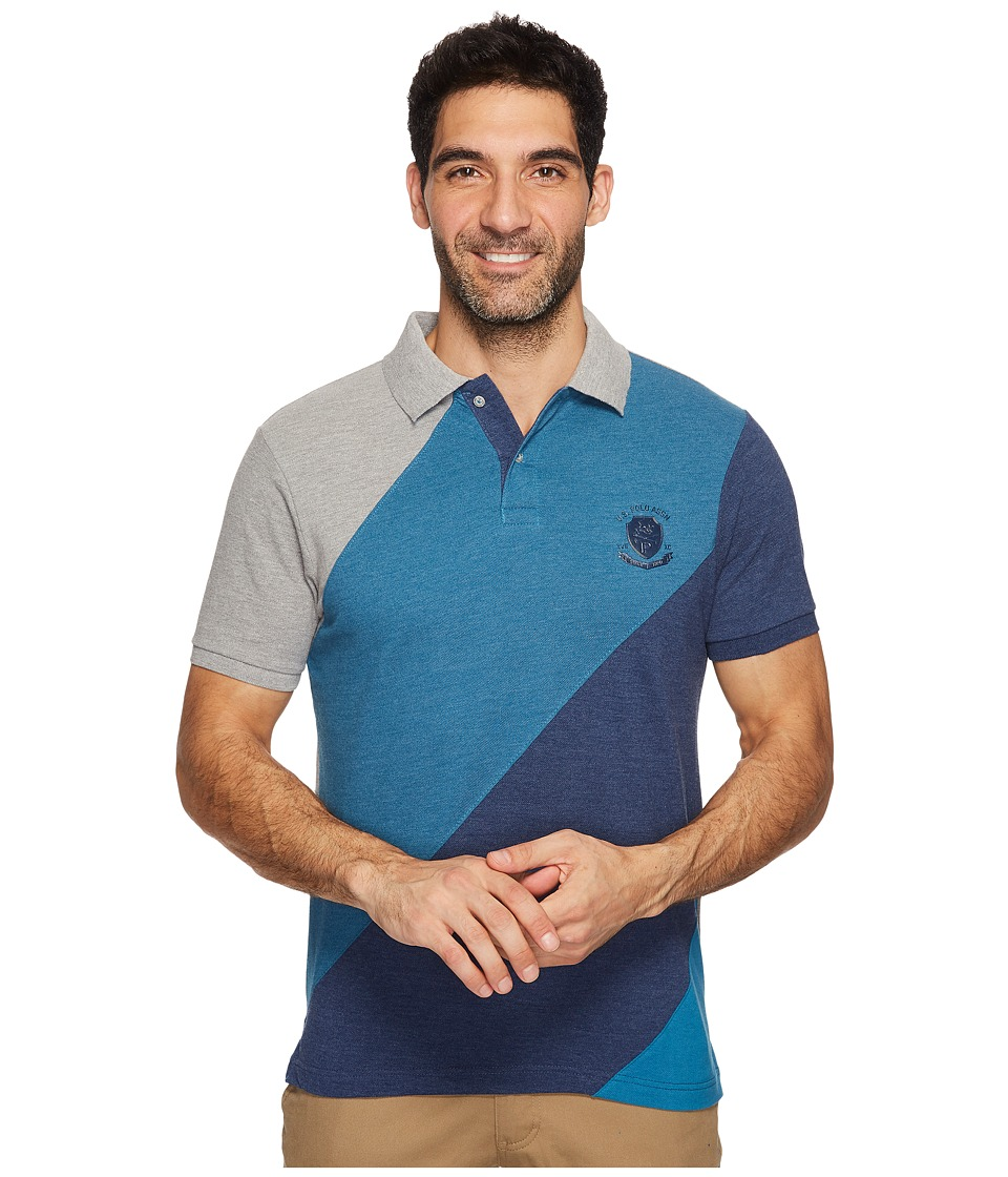 U.S. POLO ASSN. - Slim Fit Striped Short Sleeve Pique Polo Shirt (Rinse Blue Heather) Men's Short Sleeve Pullover