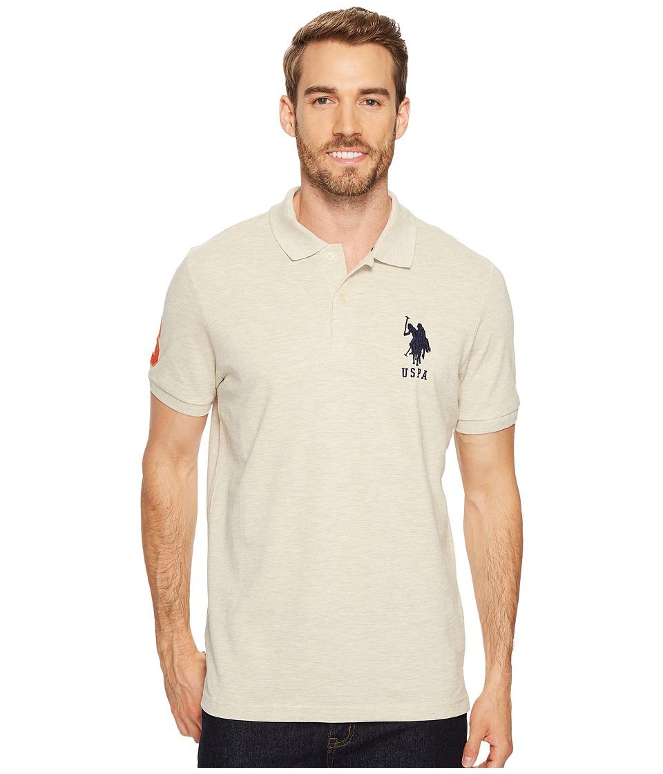U.S. POLO ASSN. - Solid Pique Polo (Oatmeal Heather/Classic Navy) Men's Short Sleeve Pullover
