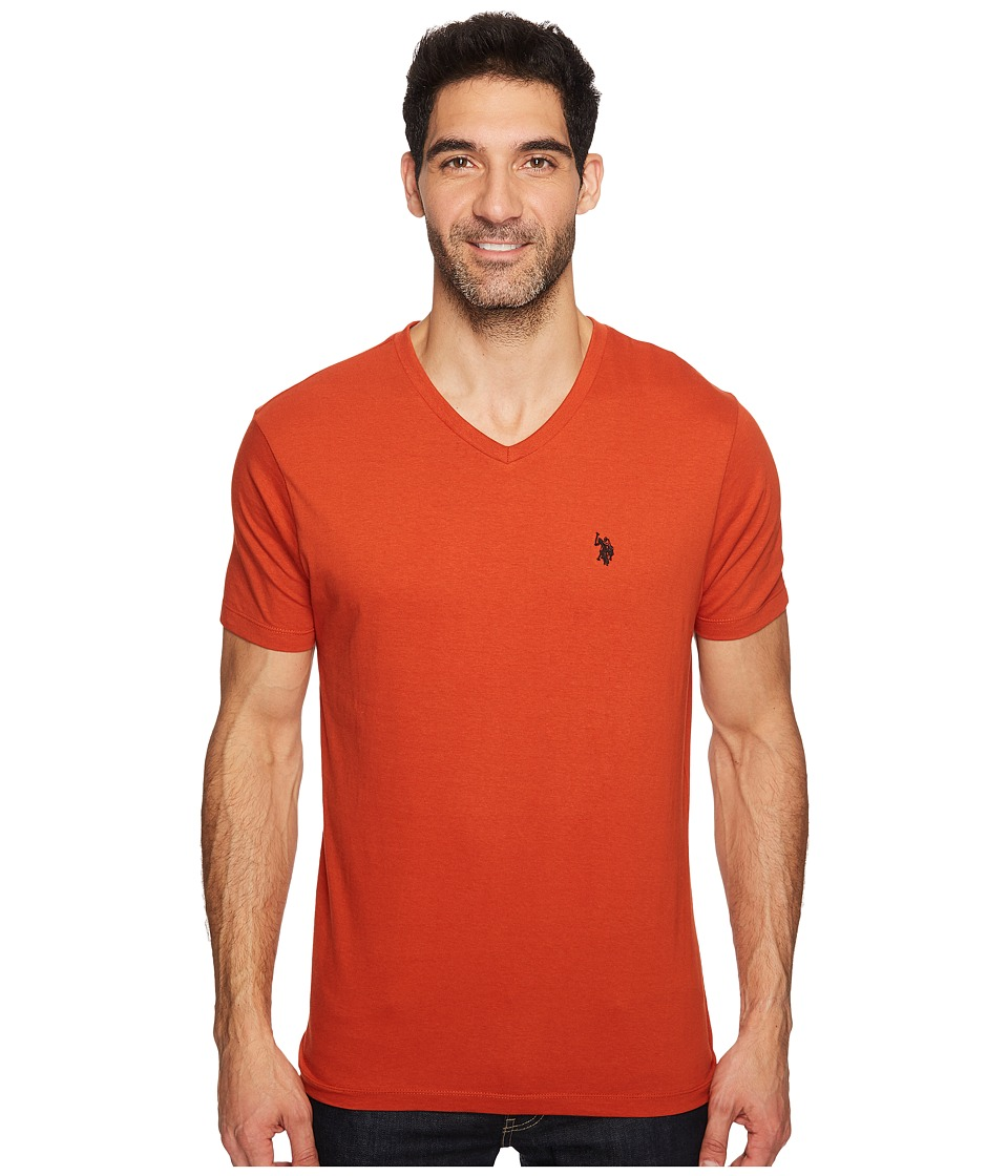 U.S. POLO ASSN. - V-Neck Short Sleeve T-Shirt (Mineral Orange) Men's Short Sleeve Pullover