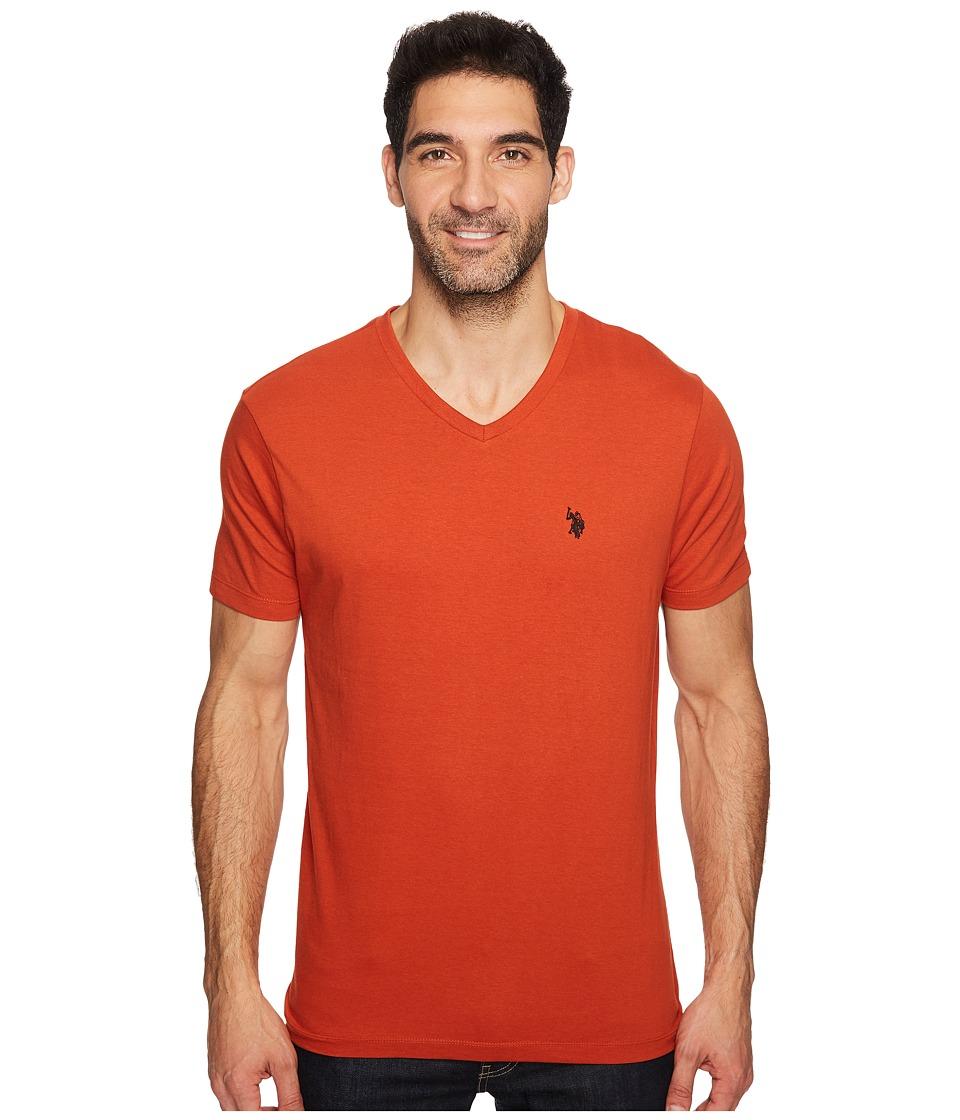 U.S. POLO ASSN. - V-Neck Short Sleeve T-Shirt (Mineral Orange) Men's Short Sleeve Pullover