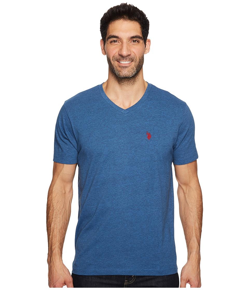 U.S. POLO ASSN. - V-Neck Short Sleeve T-Shirt (Blue Slate Heather) Men's Short Sleeve Pullover