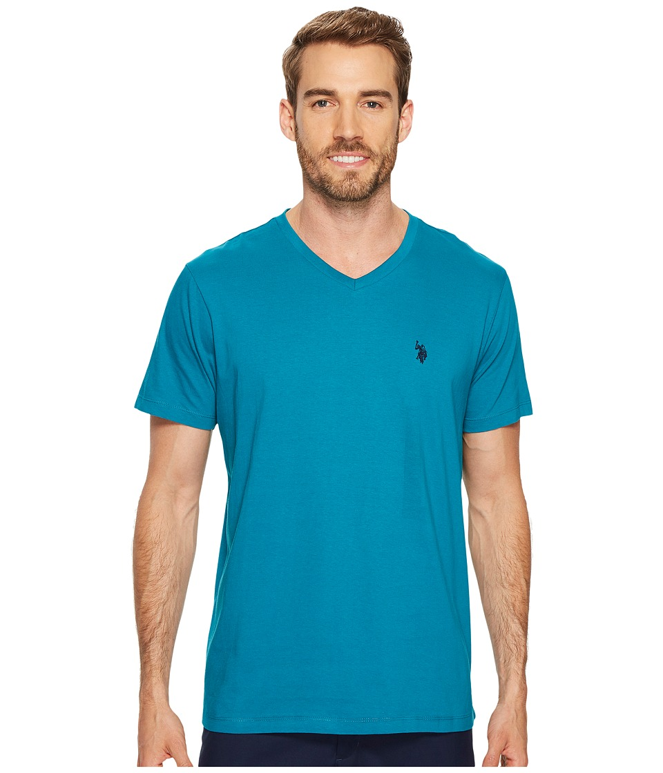 U.S. POLO ASSN. - V-Neck Short Sleeve T-Shirt (Shocking Peacock) Men's Short Sleeve Pullover