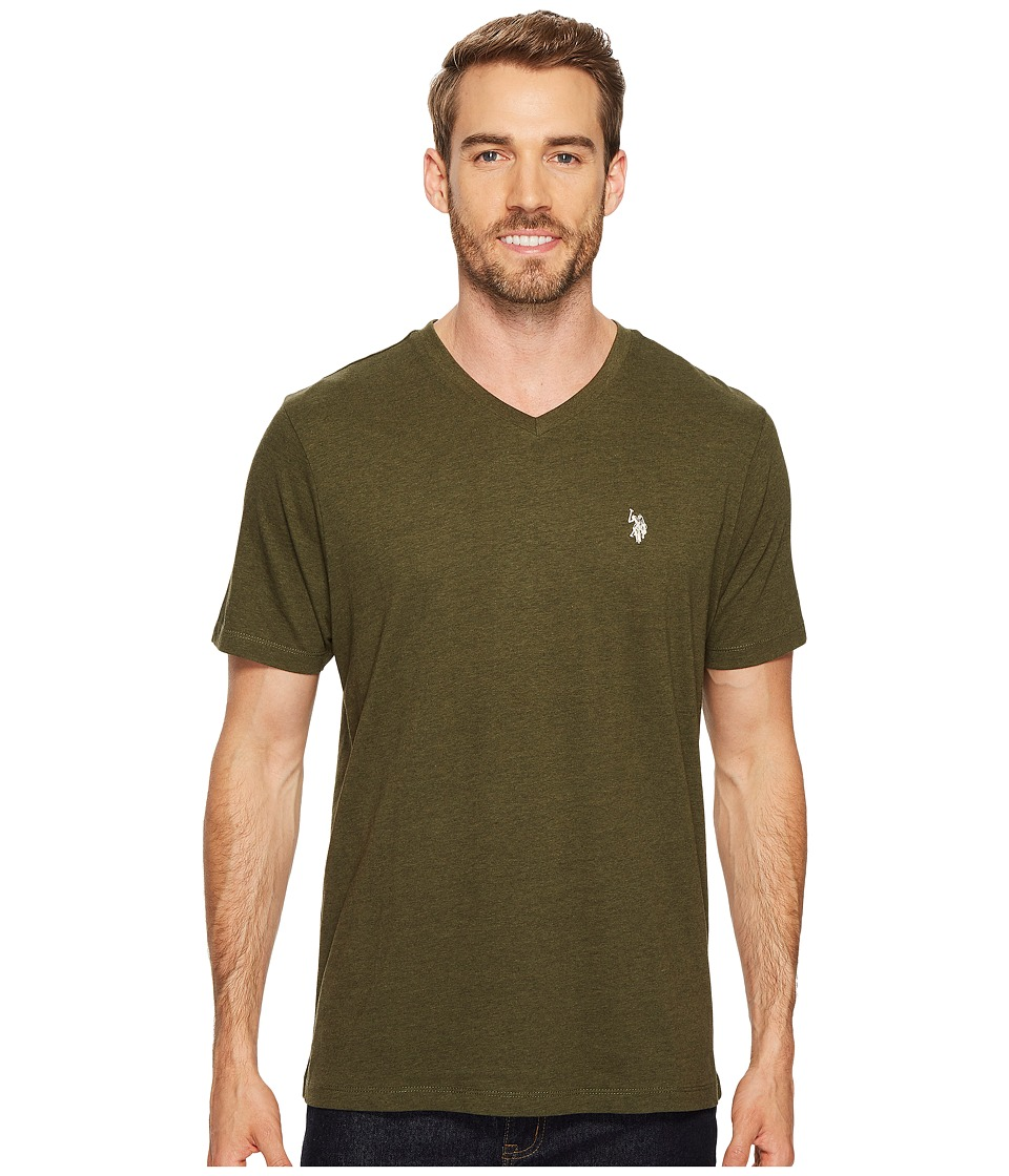 U.S. POLO ASSN. - V-Neck Short Sleeve T-Shirt (Army Heather) Men's Short Sleeve Pullover