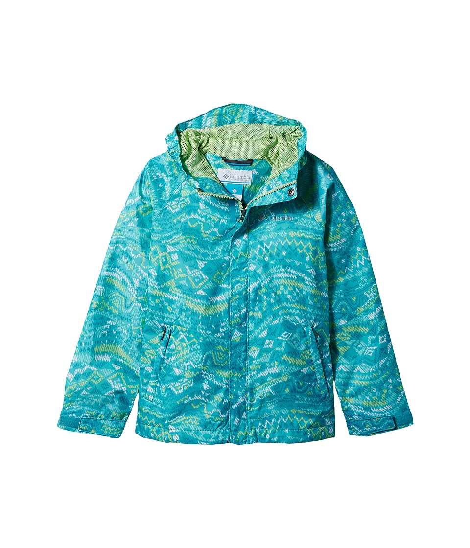 Columbia Kids Fast Curious Rain Jacket (Little Kids/Big Kids) (Geyser Wave Print/Jade Lime) Girl