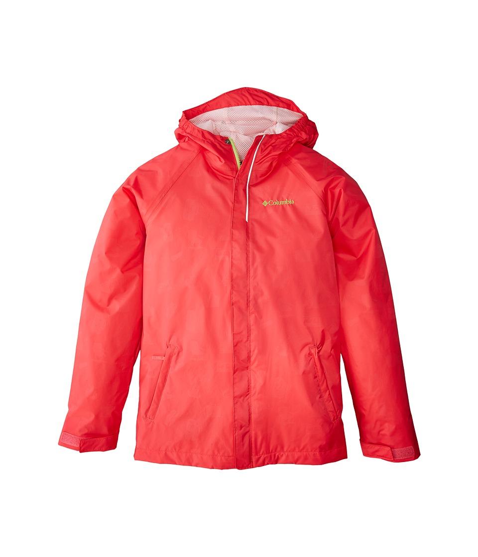 Columbia Kids Fast Curious Rain Jacket (Little Kids/Big Kids) (Punch Pink Campin Invizzaprint/Cherry Blossom) Girl