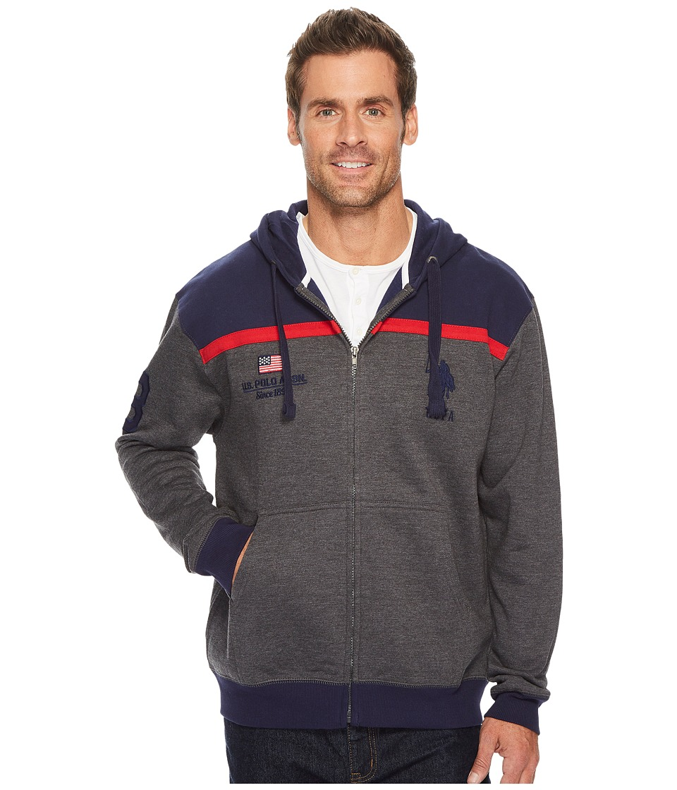 U.S. POLO ASSN. - Color Block Fleece Hooded Jacket (Dark Heather Grey) Men's Coat