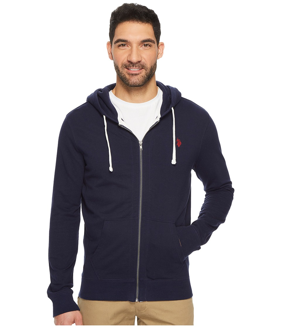 U.S. POLO ASSN. - Slim Fit Solid French Terry Hooded Jacket (Classic Navy) Men's Coat