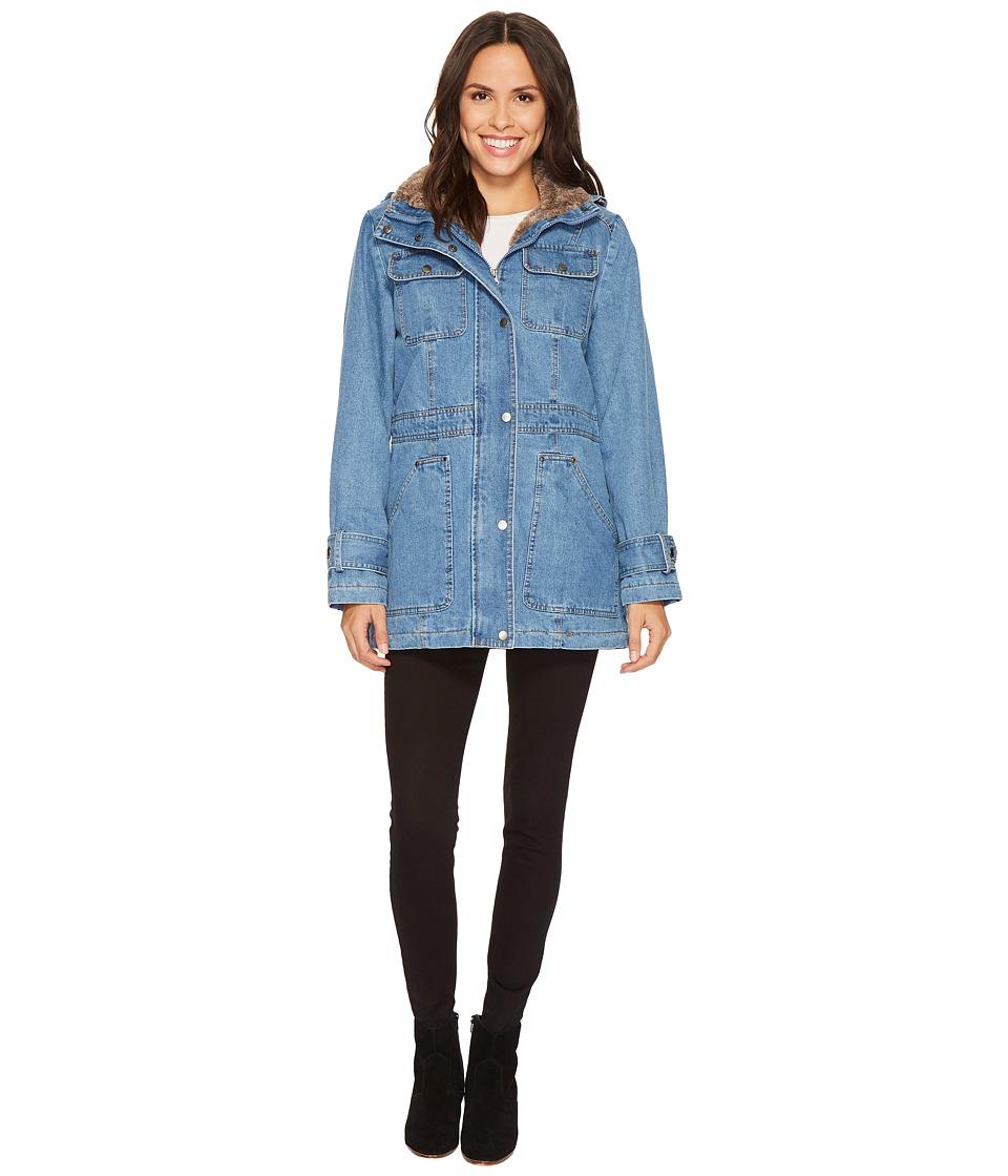 KC Collections - Hooded Denim Coat (Denim) Women's Coat