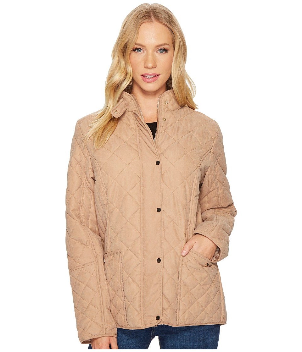KC Collections - Quilted Micro-Peach Barn Jacket (Tan) Women's Coat