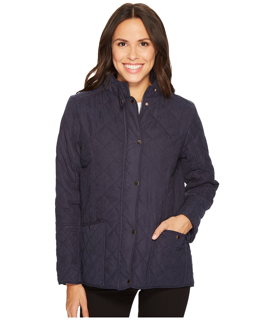 KC Collections - Quilted Micro-Peach Barn Jacket (Navy) Women's Coat