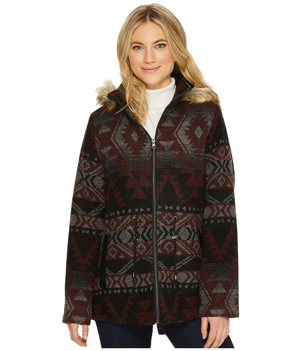 KC Collections - Hooded Aztec Faux Wool (Multi) Women's Coat