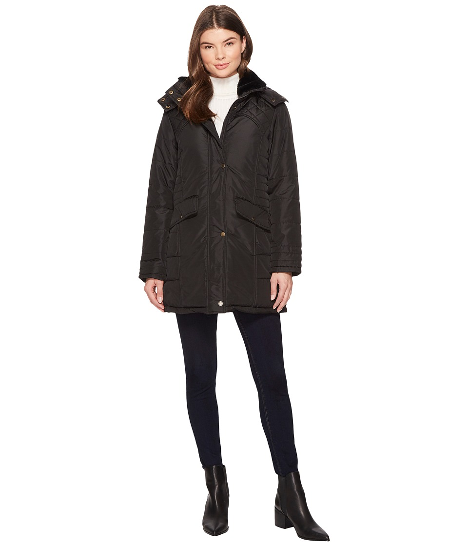 KC Collections - Hooded Puffer with Lace-Up Adjustable Back (Black) Women's Coat