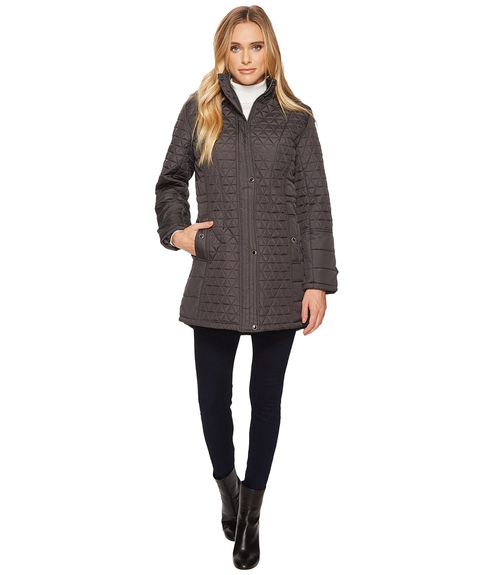 KC Collections - Hooded Triangle Quilted Walker w/ Adjustable Waist (Steel) Women's Coat