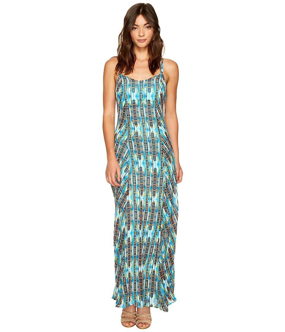 ROMEO & JULIET COUTURE - Printed Maxi Dress with Back Ring Detail (Blue Multi) Women's Dress