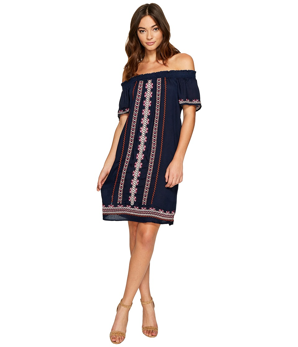 ROMEO & JULIET COUTURE - Off Shoulder Embroidery Dress (Navy) Women's Dress