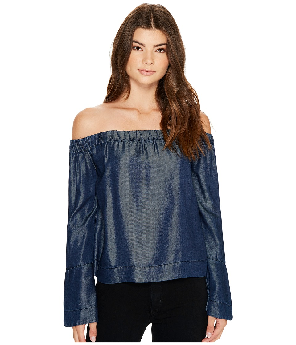 7 For All Mankind - Bell Sleeve Off Shoulder Denim Top in Rinsed Night (Rinsed Night) Women's Clothing