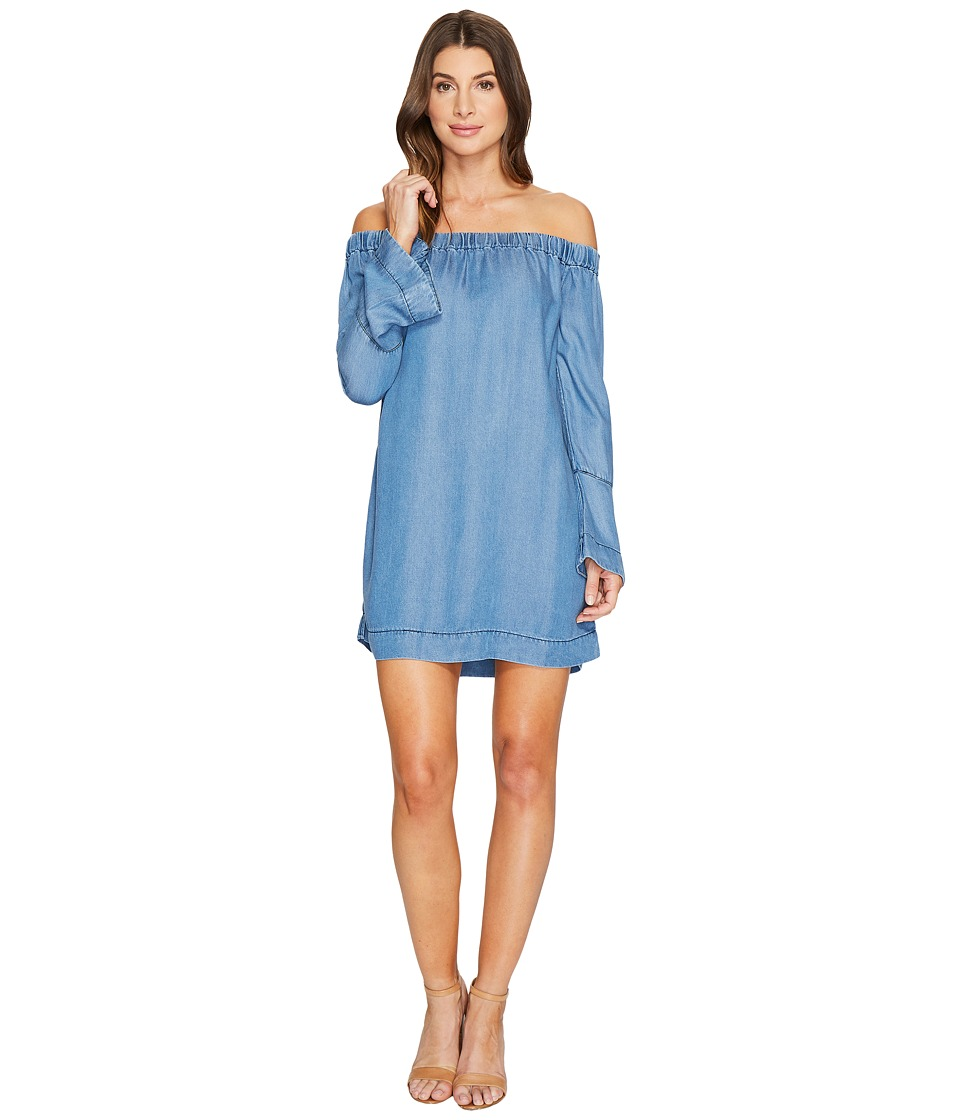 7 For All Mankind - Bell Sleeve Off Shoulder Denim Dress in Bluestone (Bluestone) Women's T Shirt