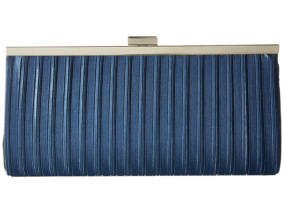 Jessica McClintock Laura Pleated Satin Framed Clutch (Navy) Clutch Handbags
