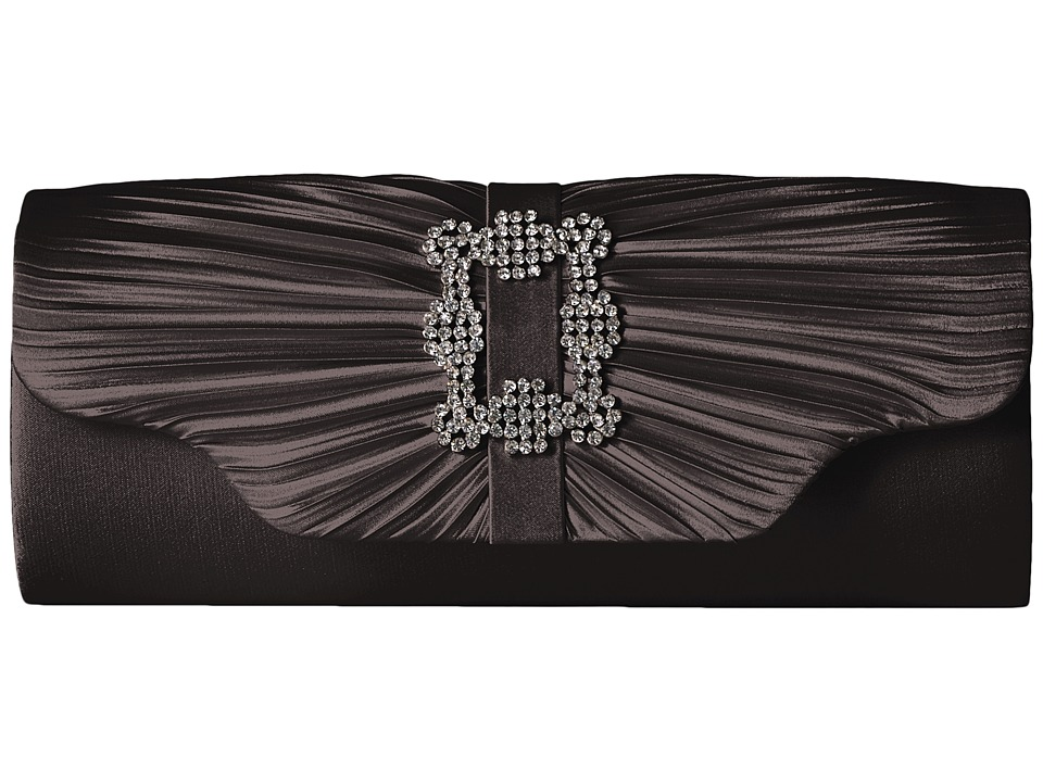 Jessica McClintock Mary Satin Pleated Clutch with Brooch (Black) Clutch Handbags
